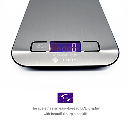 Etekcity Digital Kitchen Scale Multifunction Food Scale, 11 lb 5 kg, Silver, Stainless Steel (Batteries Included) by Etekcity (Image #4)