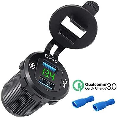 Conector USB para Automóviles y Motocicletas 12V / 24V, Cargador Dual de Puerto USB QC3.0 Cargador Rápido con Voltímetro Impermeable LED digital para ...