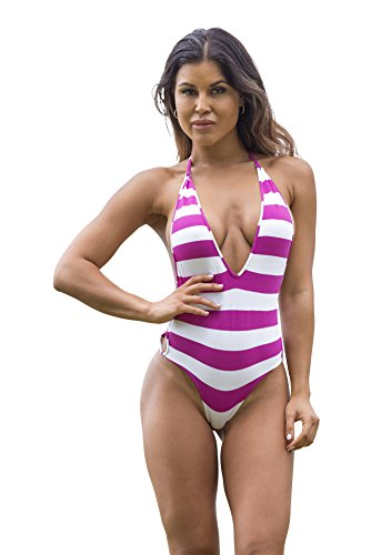 Wicked Weasel Sailor Stripe One Piece Bikini 811  Medium  Fuchsia