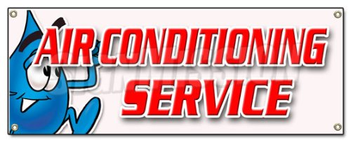 AIR CONDITIONING SERVICE BANNER SIGN ac cooling technician air cold maintenance ()