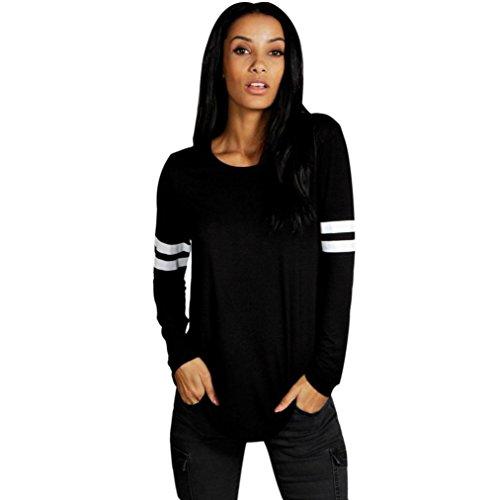 Lisingtool Women's Casual Loose Blouse Long Sleeve T-shirt (M, Black) (T Shirt Romper For Women)