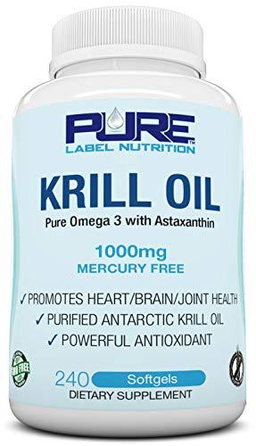 Krill Oil 1000mg with Astaxanthin 240 Caps Omega 3 6 9 - EPA