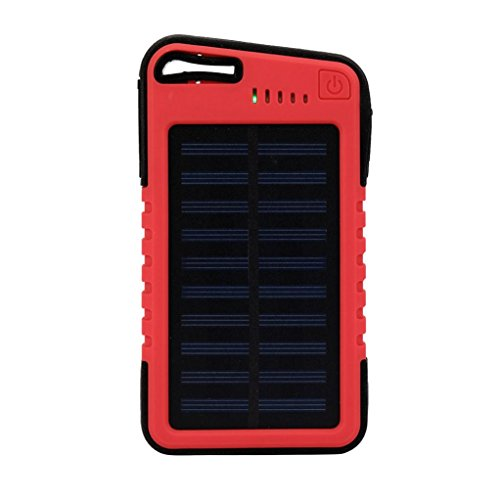 Portable Charger,HP95(TM) 20000 mah Portable Solar Power Bank Waterproof/Shockproof/Dustproof Dual USB Battery Bank for cell phone,for Travel,Hiking (Red)