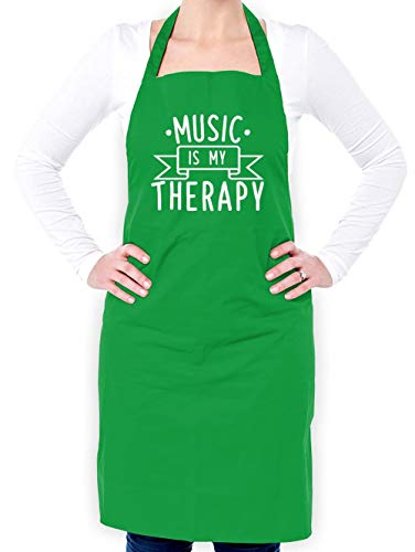Dressdown Music is My Therapy - Unisex Fit Adult Apron - Kelly Green - One Size