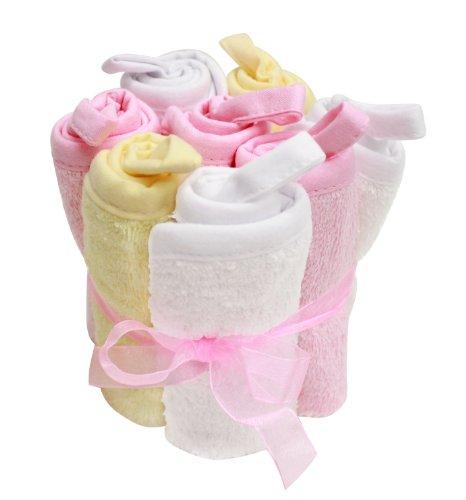 Paquet de 8 débarbouillettes Set, rose, blanc, jaune, Frenchie Mini Couture