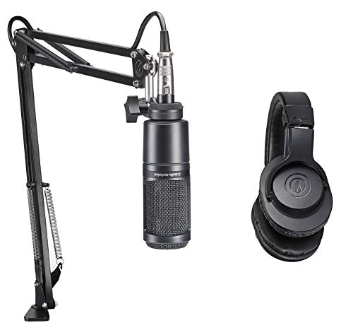 (Audio Technica 1-Person PC Podcast Podcasting Package Microphone+Headphones+Boom)
