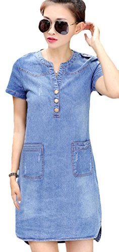 Youhan Women's Vintage Fitted V-Neck Short Sleeve Denim Dress (X-Large, Light Blue)