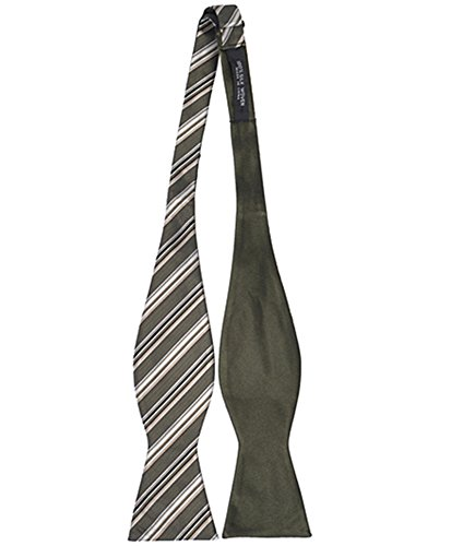 Umo Lorenzo Woven Silk Thin Striped Reversible Bow Tie