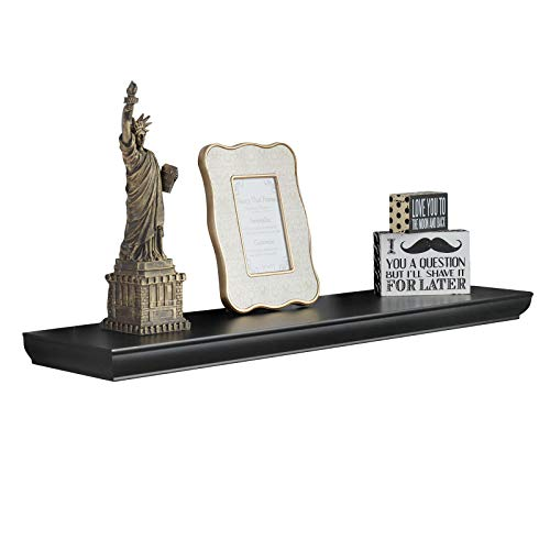 WELLAND Wilson 48 Inch Floating Shelves, Black Floating Wall Shelf for Bedroom and Bathroom, Mounting Hardware Included, 36