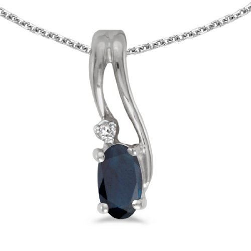 This 14k white gold oval sapphire and diamond wave pendant features a 5x3 mm genuine natural sapphire with a 0.25 ct total weight. by sendmyjewelry