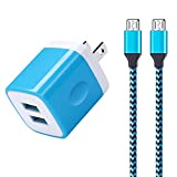 Android Charger, Sixsim 2-Pack 6ft Micro USB Cable Nylon Braided Cord with 2.1A Dual Port USB Wall Charger Plug Block for Samsung Galaxy S6 S7 Edge, Note 5 4, LG Aristo 2 K30 K20 V10 G3 G4, Moto G