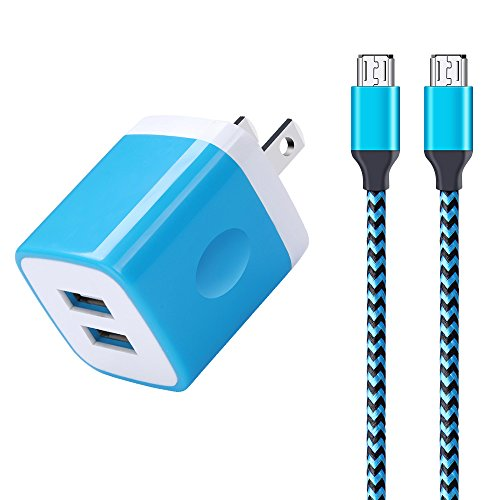 Android Charger, Sixsim 2-Pack 6ft Micro USB Cable Nylon Braided Cord with 2.1A Dual Port USB Wall Charger Plug Block for Samsung Galaxy S6 S7 Edge, Note 5 4, LG Aristo 2 K30 K20 V10 G3 G4, Moto G by Sixsim
