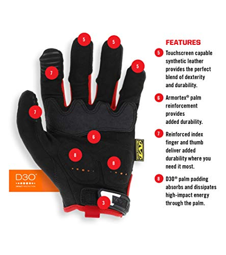 عروض Mechanix Wear - M-Pact Work Gloves (Medium, Black/Red)