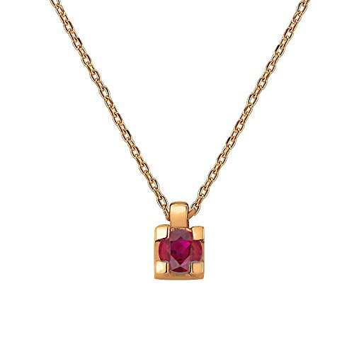 0.15 Carat 10K Rose Gold Real Natural Round Cut Red Ruby Solitaire Pendant Necklace (Free (10k Ruby Necklace)