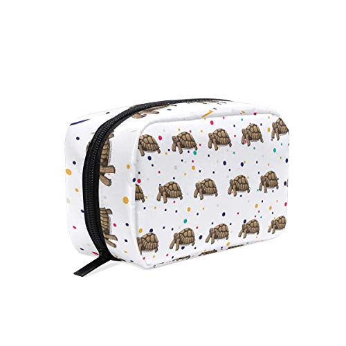 (Sulcata Tortoise Cosmetic Bags Organizer- Travel Makeup Pouch Ladies Toiletry Case for Women Girls, CoTime Black Zipper)