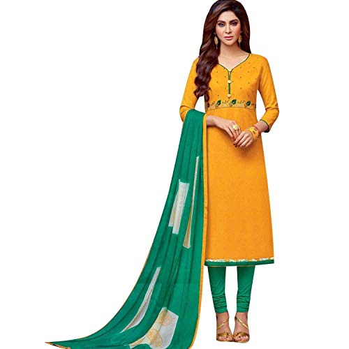 Ladyline Cotton Embroidered Salwar Kameez with Chiffon Printed Dupatta Mustard