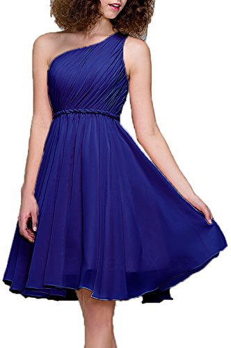 Silk Cocktail Evening Dress - 99Gown Bridesmaid Dresses Short Cocktail Dress One Shoulder Prom Formal Dresses for Women, Color Royal Blue,14