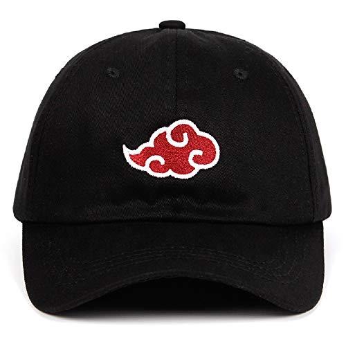 Japanese 100% Cotton Akatsuki Anime Naruto Dad Hat Uchiha Family Embroidery Baseball Caps Adjustable Black Snapback Hats red -
