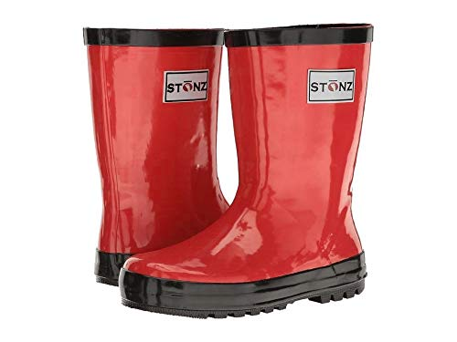 Stonz All-Natural Rubber Rainboot Rain Boots for Toddler Little Big Kid - Waterproof Colorful Warm - Summer Fall Winter - Red, Size 9T by Stonz (Image #8)