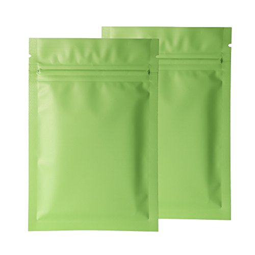 Double-Sided Matte Green Flat Mylar Ziplock Sample Food Safe Packaging Powdered Storage Bags (0.5oz, Matte (Seal Heat Set)