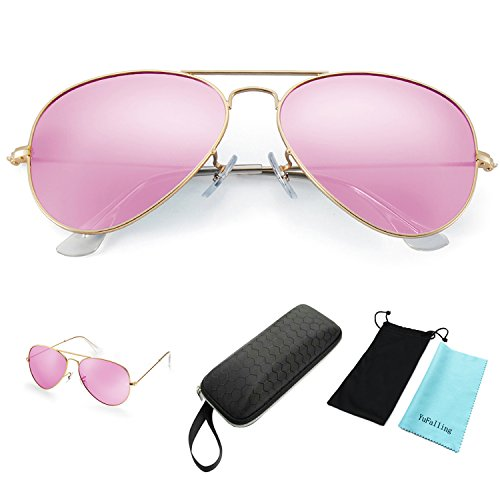 YuFalling 2nd Generation Polarized Aviator Sunglasses for Men and Women (gold frame/rose pink lens, - Eye Sunglasses 3rd