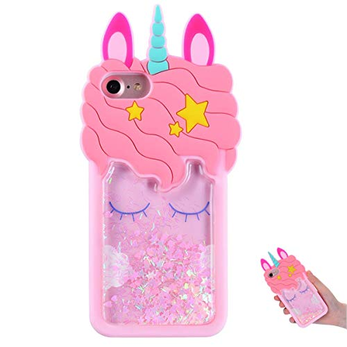 TopSZ Quicksand Unicorn Bling Case for iPhone 4/ iPhone 4S,Cute Silicone 3D Cartoon Cool Kawaii Animal Cover,Shockproof Soft c Skin,Funny Unique Character Cases for Kids Girls Teens Guys (iPhone 4/4S) (4s Iphone Cases Bling)