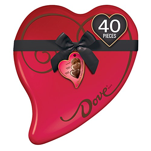 DOVE Extra Large Valentine's Assorted Chocolate Candy Heart Gift Box 14-Ounce 40- Piece Tin -
