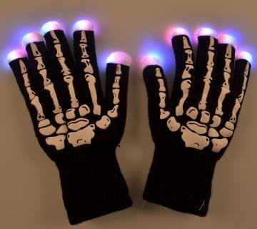 ASSIS Happy Holloween Party LED Gloves Skeleton Style Party Light Show Gloves- 7 Light Flashing Modes. The Best Gloving & Lightshow Dancing Gloves for Clubbing, Rave, Birthday, Disco, Dubstep -