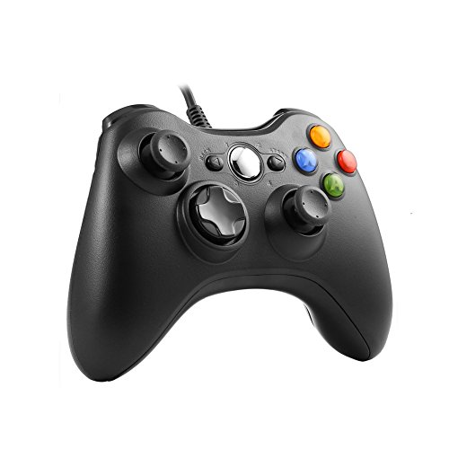 (Wired Controller for Xbox 360,TGJOR Wired USB Game Controller Gamepad Joystick with Shoulders Buttons for Microsoft Xbox & Slim 360 PC Windows PC (Black))