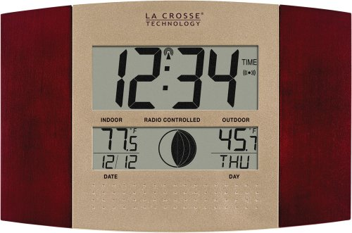La Crosse Technology WS-8117U-IT-C Digital Wall Clock, with Temperature and Moon Phase (Lacrosse Technology Wall Clock)