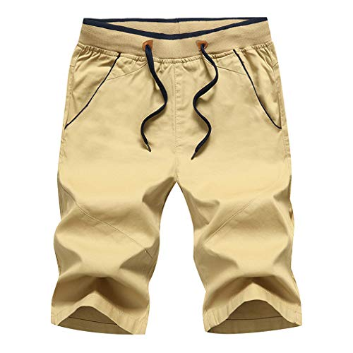Mens Summer Short Pants Leisure Sports Five-Cent Trousers Cotton Belted Beach Flat Front Shorts Beautyfine Khaki