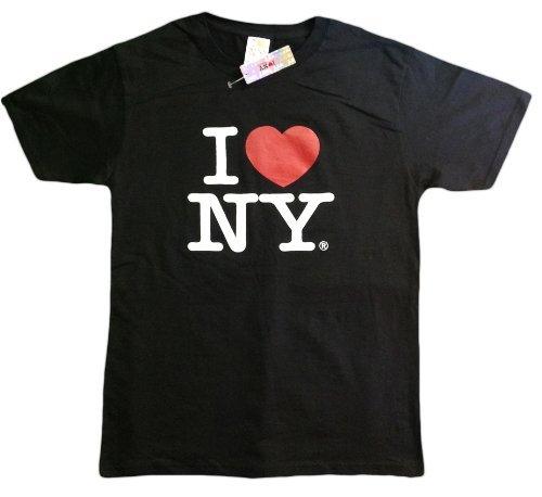 - I Love NY New York Short Sleeve Screen Print Heart T-Shirt Black (XXXXX-Large)