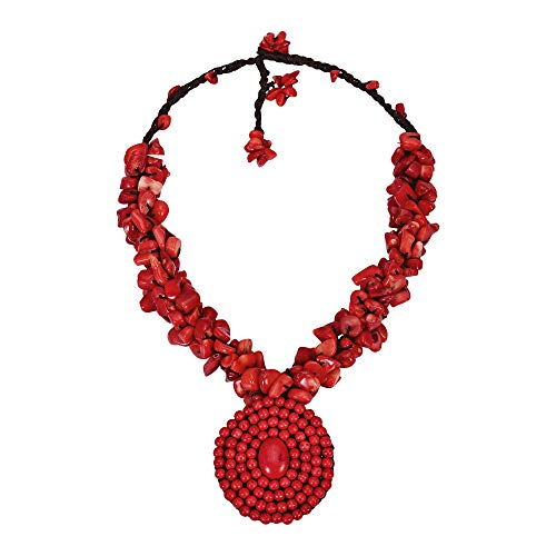 Necklace Pendant Mosaic - AeraVida Reconstructed Red Coral On Cotton Wax Rope Round Mosaic Pendant Cluster Necklace