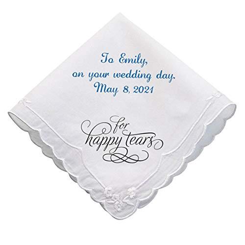 Personalized Wedding Handkerchief Bride, For Happy Tears Hankie -