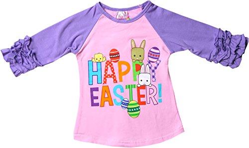 Angeline Boutique Clothing Girls Happy Easter Ruffles Sleeves Raglan Shirt (Bunny Girls T-shirt)