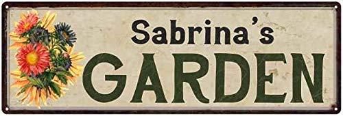 Sabrina's Garden Personalized Flower Chic Decor 6x18 Sign 6 x 18 Matte Finish Metal 106180017315