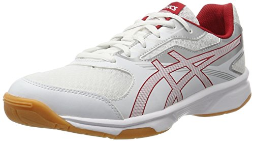 Asics Upcourt 2, Chaussures de Volleyball Homme, Blanc (White/Prime Red/Silver 0123), 41.5 EU