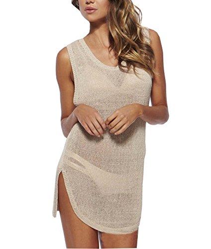 Wander Agio Beach Club Perspective Cover Shirt Bikini Cover-up Net Beige,Small