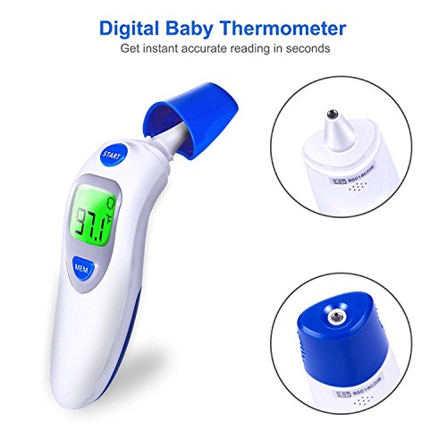 ThermaTouch Ear and Forehead Digital Thermometer (LCD Screen) Fast, Accurate, Instant Read Infrared Clinical Results | Baby, Kids, and Adult Use | FDA Approved
