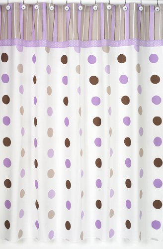 Sweet Jojo Designs Purple and Brown Mod Dots Kids Bathroom Fabric Bath Shower Curtain (Curtains Brown Purple)