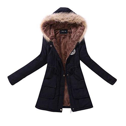 Edtara Abrigo Largo para Las Mujeres, Abrigo de Polar cálido con Capucha, Chaqueta de algodón con Cuello Redondo, Cazadora...