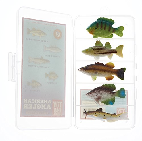 American Angler Collection Toy Fish Set With Collector Case Largemouth Bass Crappie Bluegill Catfish Striped Bass Miniature Figurine Fish by Toy Fish Factory ()
