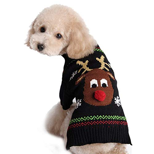 Huaa Reindeer Pet Puppy Cat Sweater Striped Knit Crocheted Coat ()