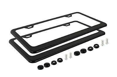 Ohuhu 2 Matte Black Powder Coated Aluminum License Plate Frame + Black Screw Caps