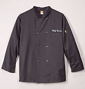 Personalized Professional Style Chef Jacket - For The Gourmet Cook In Your Life - Wonderful Gift - Black or White (Black, Large)