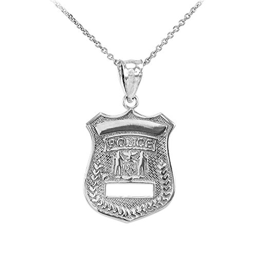 American Heroes Sterling Silver Solid Police Badge Charm Pendant Necklace, 16