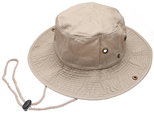 Summer Outdoor Boonie Hunting Fishing Safari Bucket Sun Hat with Adjustable Strap(Khaki,LXL) ()