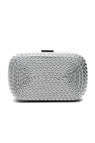 Mesh Metallic Evening Bag (Women Clutch Purse Hard Case Glitter Evening Bag Metallic Handbag With Chain Strap (silver))