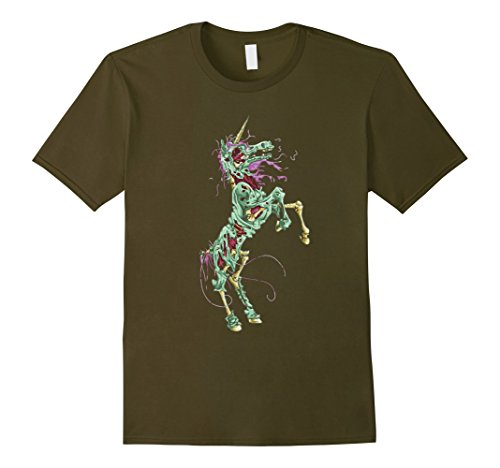 Mens Halloween Scary Unicorn Bloody Novelty T-Shirt Gift 3XL Olive