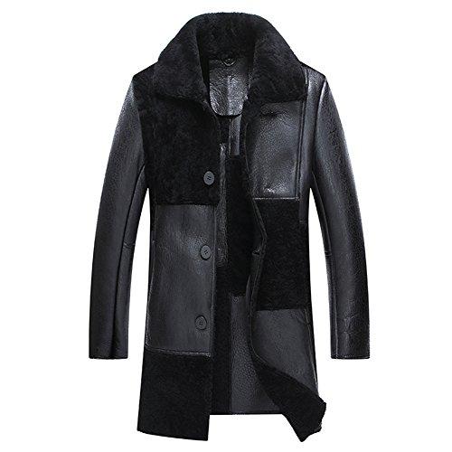 Black Notched Collar Shearling Jacket Men Fashion Show Style Business Elite Long Regular Fur Coat (Black, M) (Fur Coat Notched Collar)